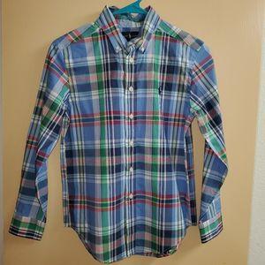 Boys Polo RL Plaid Button Down Shirt Medium 10-12